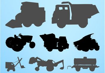 Construction Vehicles Silhouettes Set - vector gratuit #162343