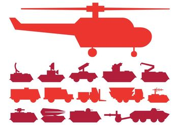 Military Vehicles Set - vector gratuit #162363