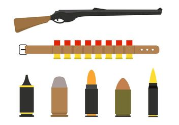 Shotgun Shells and Gun Vectors - Kostenloses vector #162573