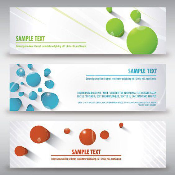 3 Modern Banners with 3d Pegs - Free vector #162793