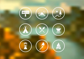 Flat Camping Icon Set Circles - Kostenloses vector #162993