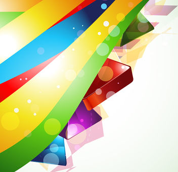 Colorful Waves 3D Cubes Background - Free vector #163003