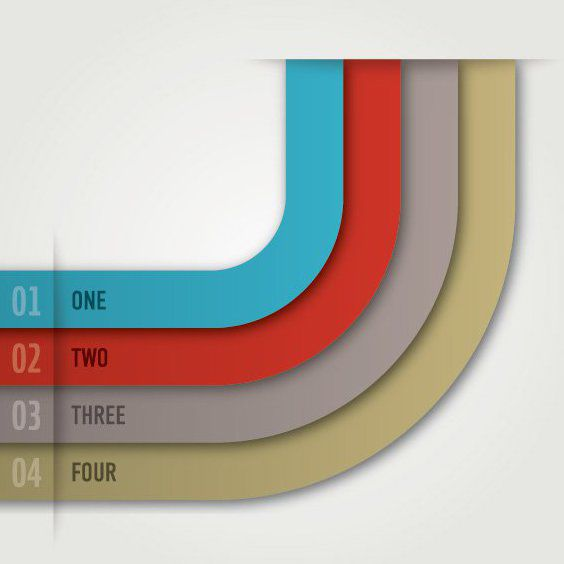 Simple Colorful Curvy Stripes Infographic - Free vector #163053