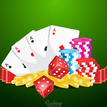 Casino Gambling Colorful Poster - Free vector #163073