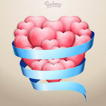 Hearts Bundled with Blue Ribbon - бесплатный vector #163133