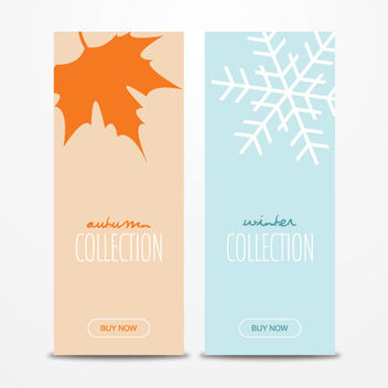 Autumn Leave & Winter Snowflake Brochures - бесплатный vector #163143