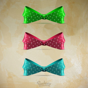 Vintage Bows on Grungy Stain Background - vector gratuit #163193
