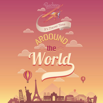 Travel around the World Retro Poster - бесплатный vector #163213