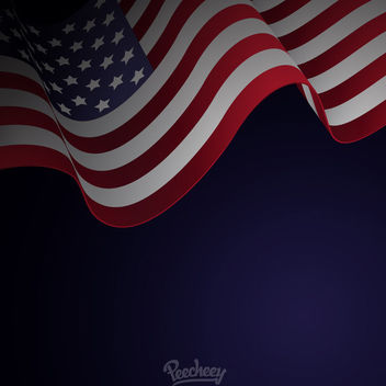 Waving American Flag Blue Background - vector gratuit #163223