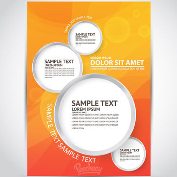 Orange Flyer with Circular Banners - Free vector #163283