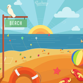 Summer Sunset in the Beach - Free vector #163323