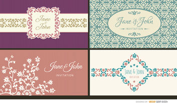 4 Floral wedding invitation cards - vector #163363 gratis