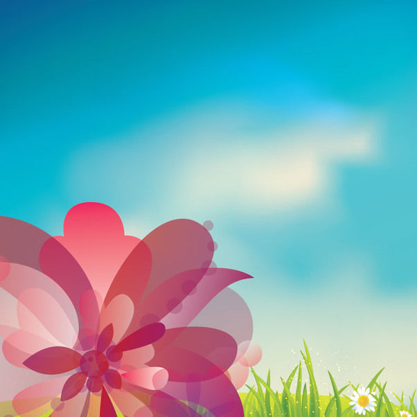 Pink Flower on Gras with Blue Sky - Free vector #163503