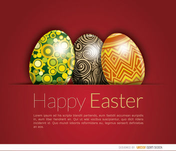 Shiny Easter eggs card - vector gratuit #163523