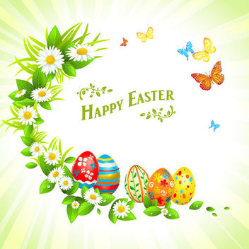 Colorful Bright Easter Invitation - vector gratuit #163543