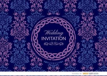 Purple blue Celtic floral wedding invitation - Free vector #163563
