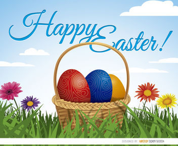 Easter eggs basket on grass background - vector gratuit #163613
