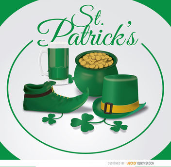 St. Patrick's symbols circle background - vector #163623 gratis