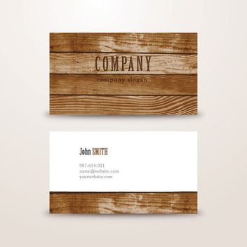 Wooden Background Business Card Template - vector gratuit #163633