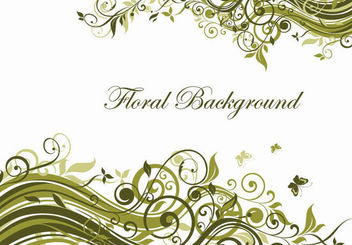 Green Floral Swirls Background - Free vector #163653