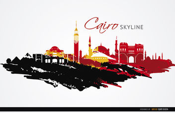Cairo landmarks painted flag - vector gratuit #163673