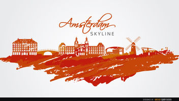 Amsterdam skyline painted orange - Free vector #163683