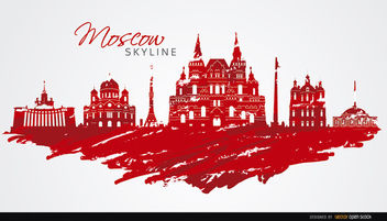 Moscow skyline painted flag colors - vector gratuit #163693