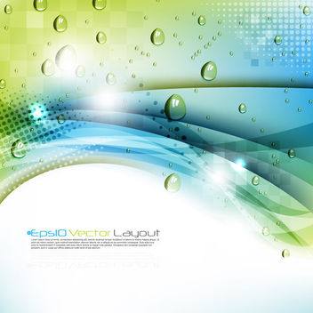 Green Waves Background with Droplets - Free vector #163733