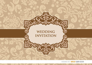 Gentle peach floral wedding invitation - Free vector #163753