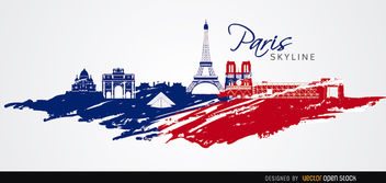 Paris skyline flag colors - vector gratuit #163773