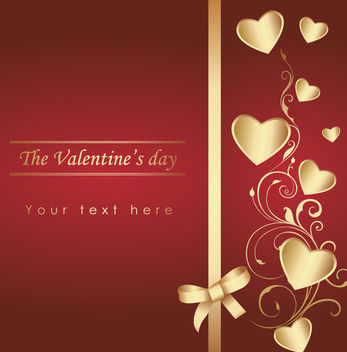 Hearts & Ribbon Valentine Card - vector gratuit #163793