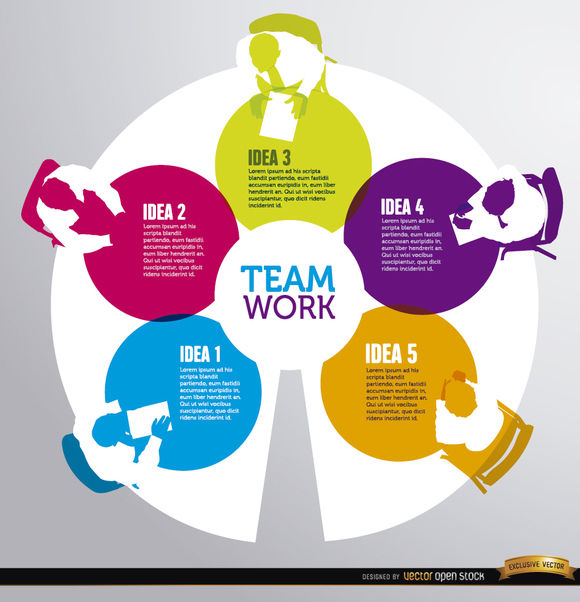 Teamwork round table infographics - Free vector #163813