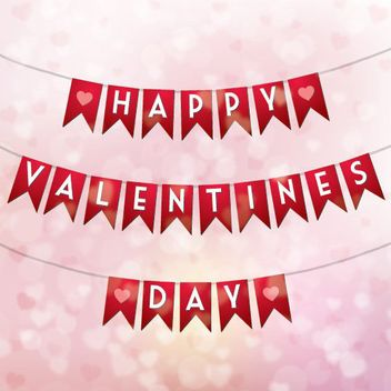 Valentines Typography on Separate Ribbon Banners - vector gratuit #163913