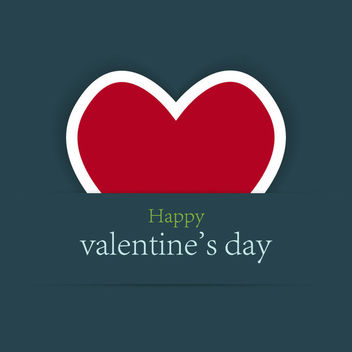 Red Labeled Heart Minimalist Valentine Card - vector gratuit #163923