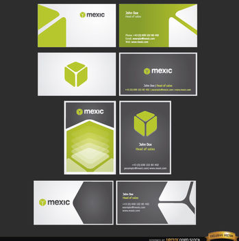 8 Cube business card templates - Free vector #163953