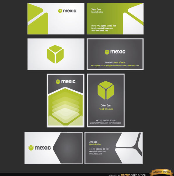 8 Cube business card templates - бесплатный vector #163953