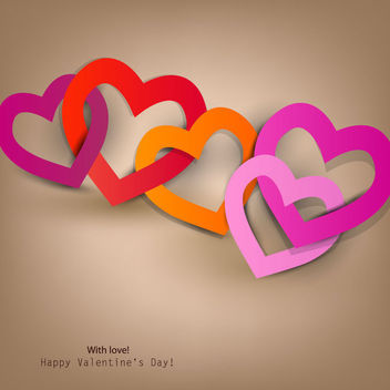 Multicolored Chain Heart Valentine Background - Free vector #163963