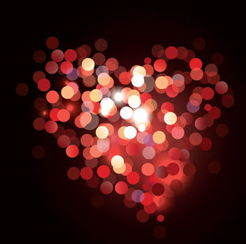 Glowing Colorful Bokeh Heart Valentine Background - Kostenloses vector #163973