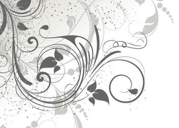 Swirling Grey Abstract Floral with Grunge - vector gratuit #164013