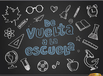 Back to school blackboard background Spanish - Free vector #164023