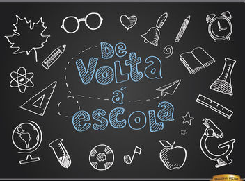 Return to classes blackboard in Portuguese - vector gratuit #164043