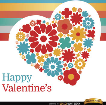 Valentine's Day heart of flowers background - vector gratuit #164053