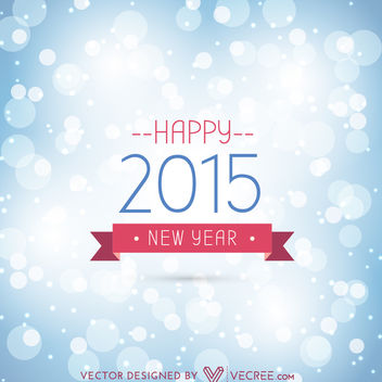2015 Vintage New Year Card on Bokeh Background - Free vector #164173