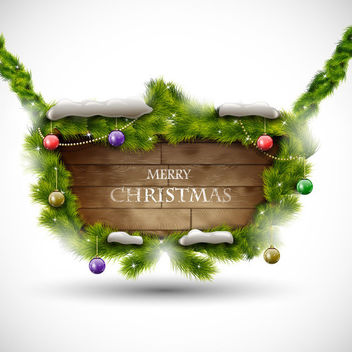 Xmas Banner on Realistic Woody Board Decoration - vector #164193 gratis
