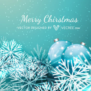 Blue Xmas Background with Snowflake & Bauble - vector #164283 gratis