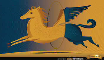 Pegasus jumping circle change - Free vector #164303