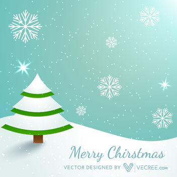 Funky Snowy Christmas Background with a Xmas Tree - vector #164353 gratis