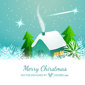 Snowy Cottage with Xmas Trees & Snowflakes - Free vector #164423