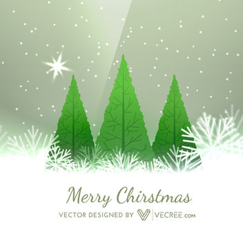 Xmas Greeting Card with Tree Planted on Snowflakes - vector gratuit #164433