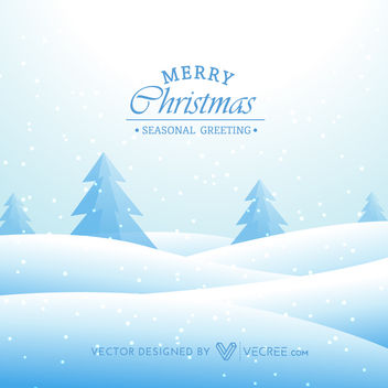 Funky Snowy Landscape Xmas Greeting Card - Free vector #164453